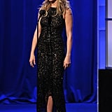 Jennifer Aniston sparkled on stage.