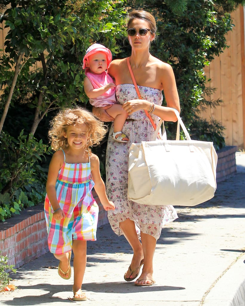 Jessica Alba took Honor Warren and Haven Warren to a friend's pool party in Hollywood.