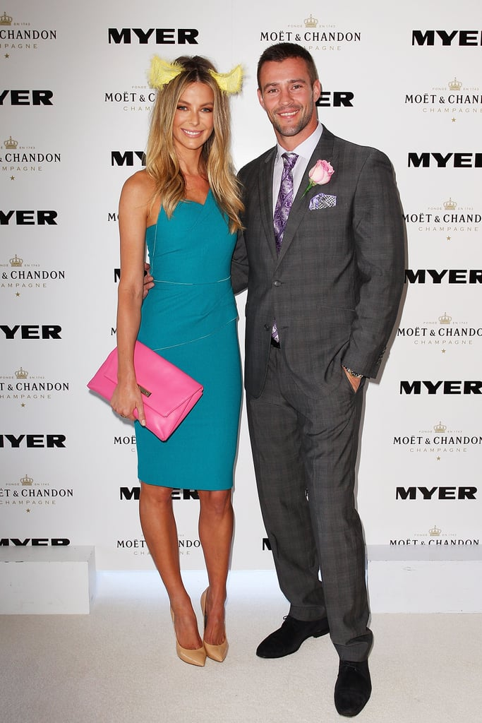Myer ambassadors Jennifer Hawkins and Kris Smith posed on the red carpet ahead of the big race day.