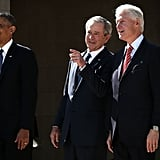 Mingling with President Bill Clinton at the opening ceremony for the George W. Bush Presidential Center in 2013