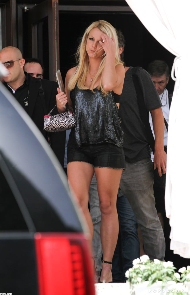 Britney Spears wore a sequin top.
