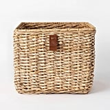 Decorative Cube Basket With Leather Pull