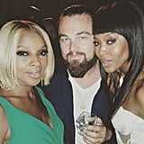 "Mary J. Blige shared a Cannes party picture with Leonardo DiCaprio and Naomi Campbell, writing, ""One of my favorite actors of all time and our generation @leonardodicaprio! Great people great party! @iamnaomicampbell #Cannes."""