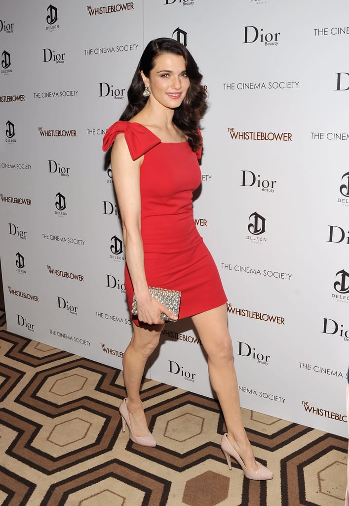 Rachel Weisz in a bow-sleeved dress.