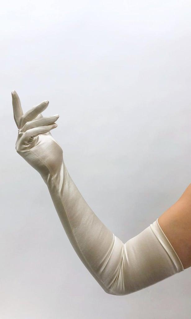 Vintage 1950s Deadstock Ivory Satin Opera Gloves