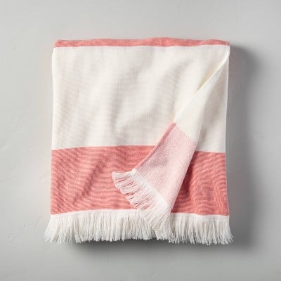 Hearth and Hand With Magnolia Bold Stripes Beach Towel for Two (Red/White)