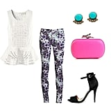 For a cool Summer fete or evening out on the town, look to your printed jeans to lend a little of the on-trend — then look to some dressier components to give them a superchic angle. We'd add a superfemme peplum top and a pair of sexy stilettos to give the look a party-perfect feel. Get the Look:  Joe's Jeans Floral Print Skinny Jean ($179) Zara Basic Sandal ($50) H&M Peplum Top ($40, available in stores) DVF Lytton Minaudiere Clutch ($295) Rachel Leigh Estates Everyday Stud Earrings ($55)