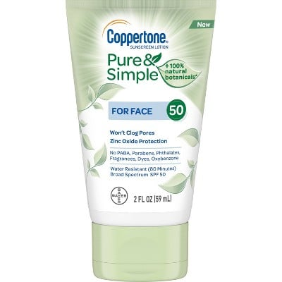 Coppertone Pure and Simple Botanicals Faces Sunscreen Lotion- SPF 50