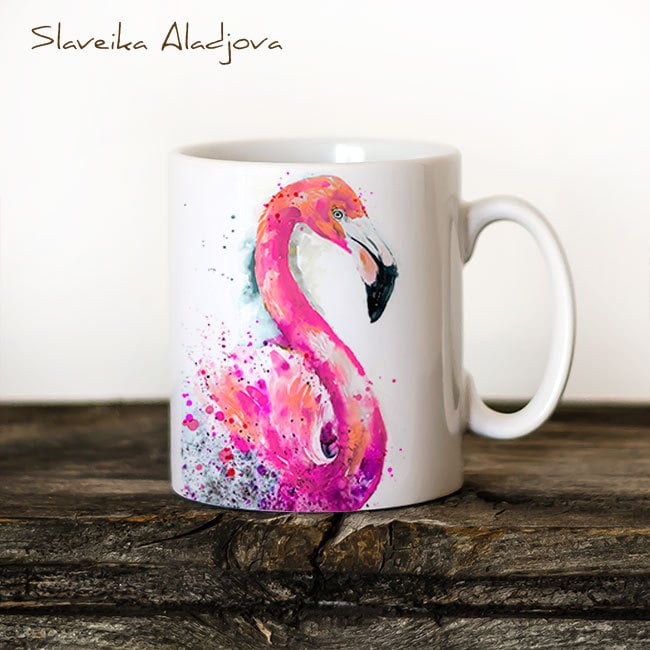 Flamingo Mug Watercolor Ceramic Mug ($16)