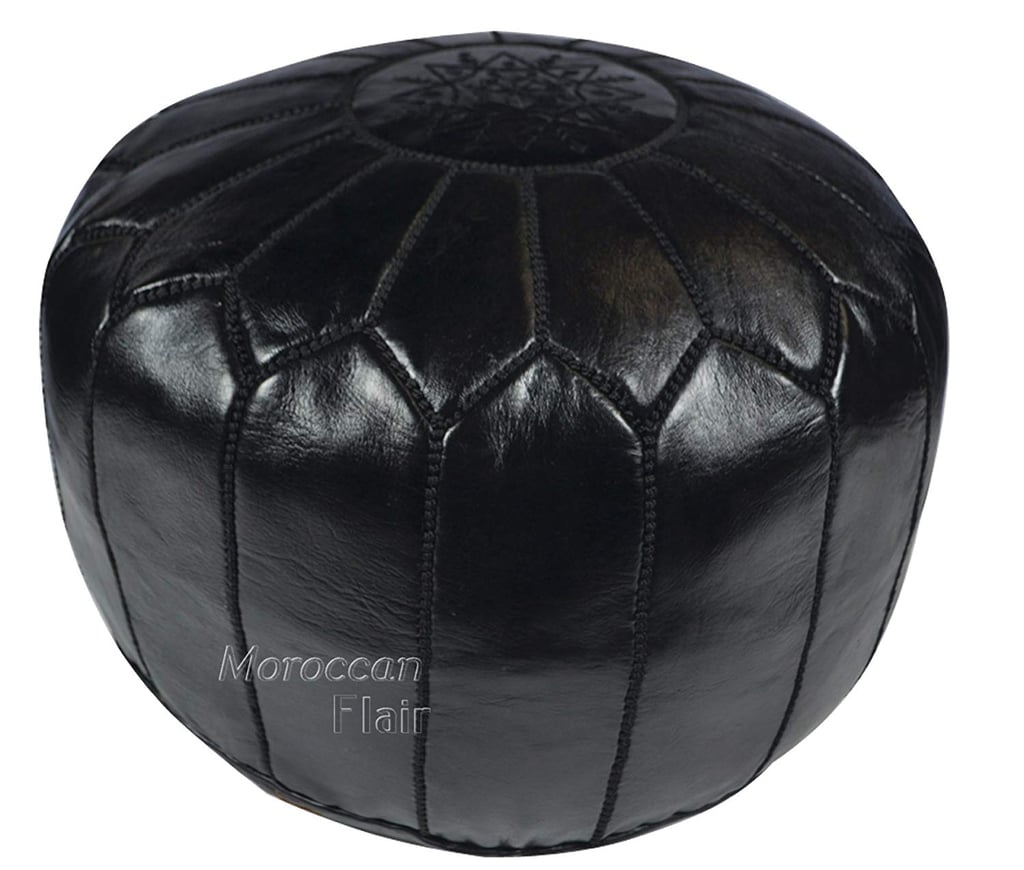 Moroccan Flair Leather Moroccan Pouf in Black