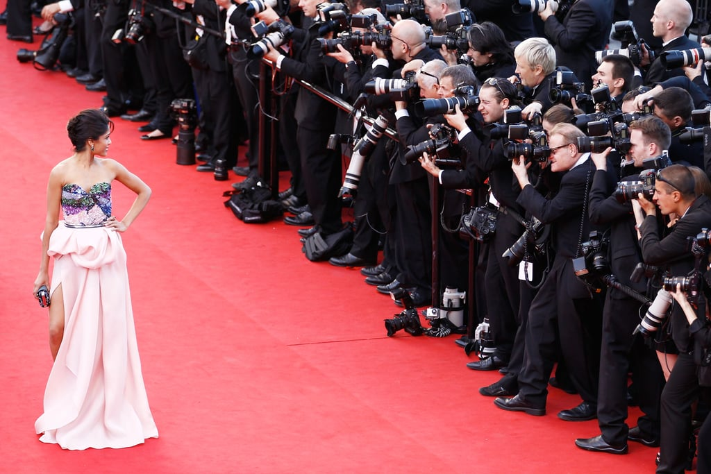 Freida Pinto made her way down the red carpet at the opening of the Cannes Film Festival and the premiere of Moonrise Kingdom.