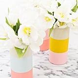 Colorblocked Wood Vases