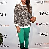 Jamie Chung got on the colored-jeans band wagon with a pair of emerald-hued skinnies.