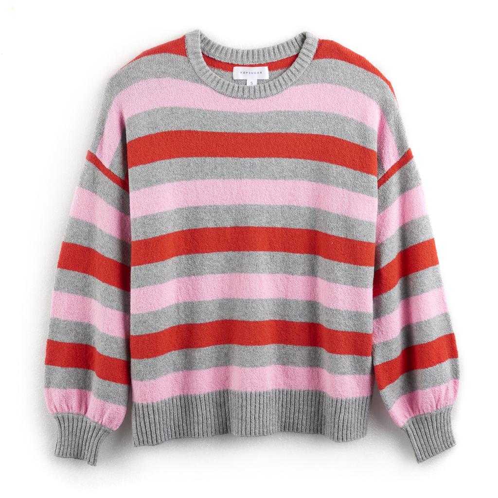 Heather Gray Stripe Balloon-Sleeve Sweater