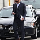 Simon Baker stepped onto the set of The Mentalist in LA on Wednesday.