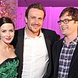 Emily Blunt and Bill Hader with Jason Segel at the premiere party for The Five-Year Engagement.