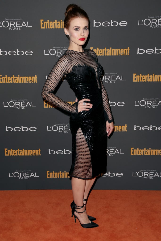 Holland Roden's black sheer Georges Chakra Couture dress and ankle-strap pumps were undeniably hot on the red carpet at the Entertainment Weekly pre-Emmys party in LA.
