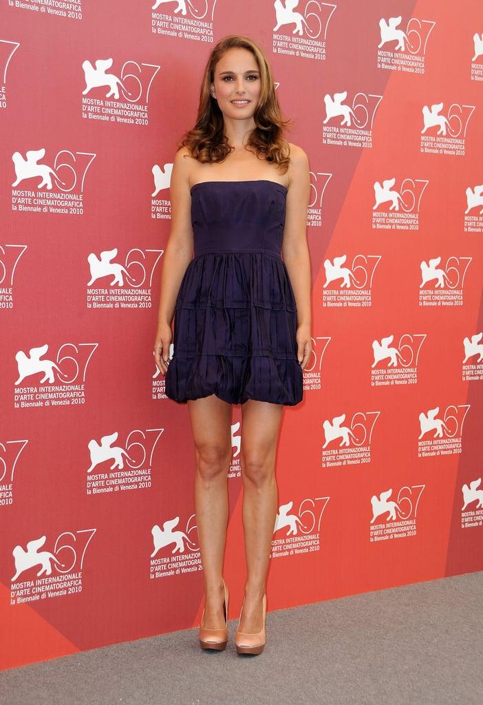 Natalie Portman in Royal Purple Minidress at the 2011 Venice Film Festival