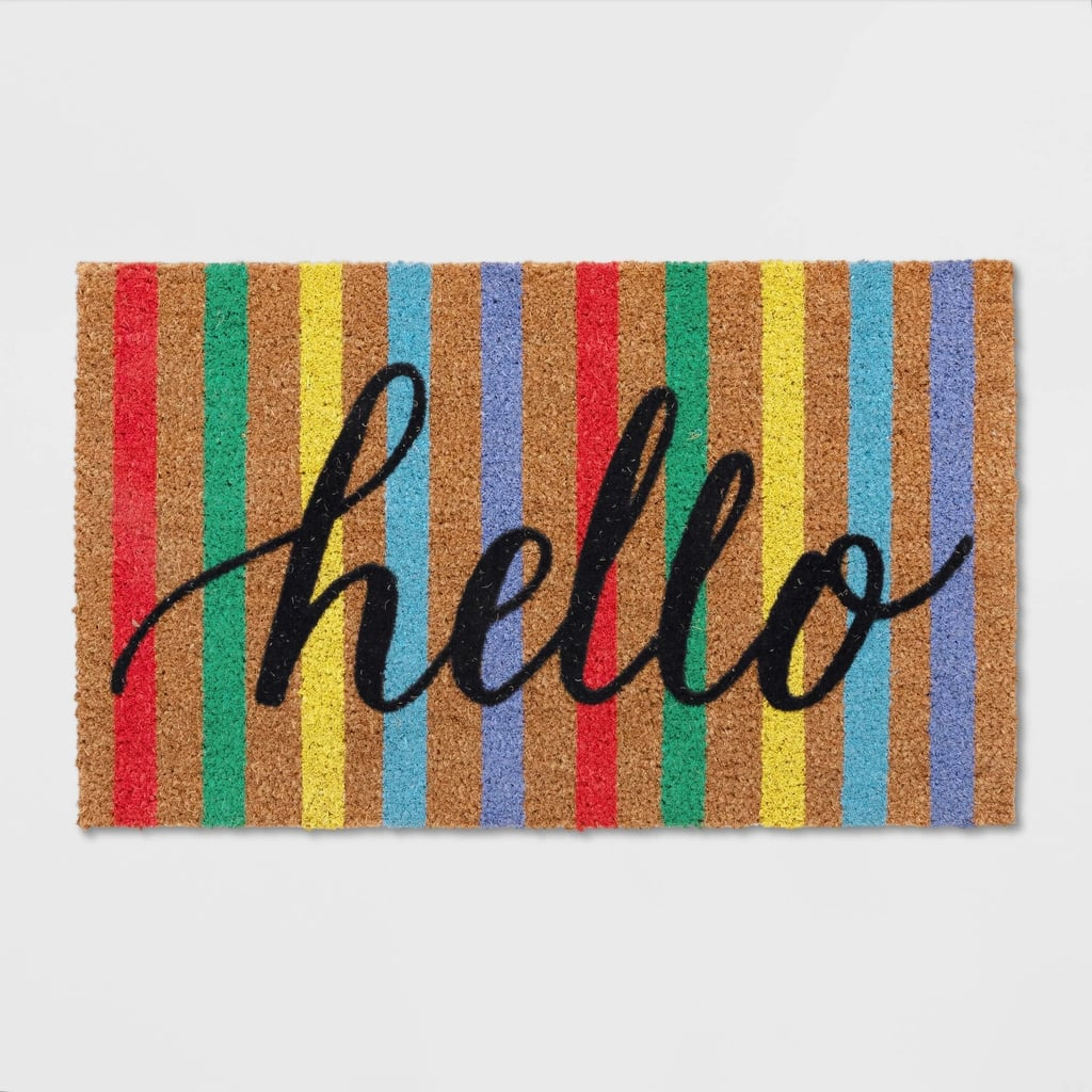 "18""X30"" Multi Stripe Hello Doormat"