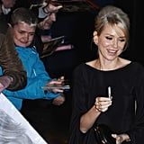 Naomi Watts attended the London premiere of The Impossible.