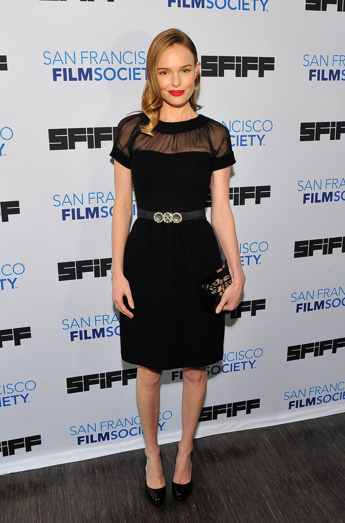 Kate Bosworth wowed in a modern LBD by Oscar de la Renta, complete with a sheer inset neckline and jewelled belt, at the 2013 San Francisco Film Festival.