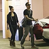 Megan Fox and Brian Austin Green carried baby Noah Green in a carrier.