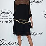 Anja Rubik headed into Chopard's soiree in a sheer-inset, pleated LBD.