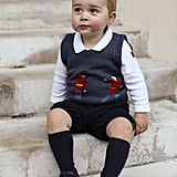Prince George in Kensington Palace Courtyard For Official Christmas Picture in November 2014