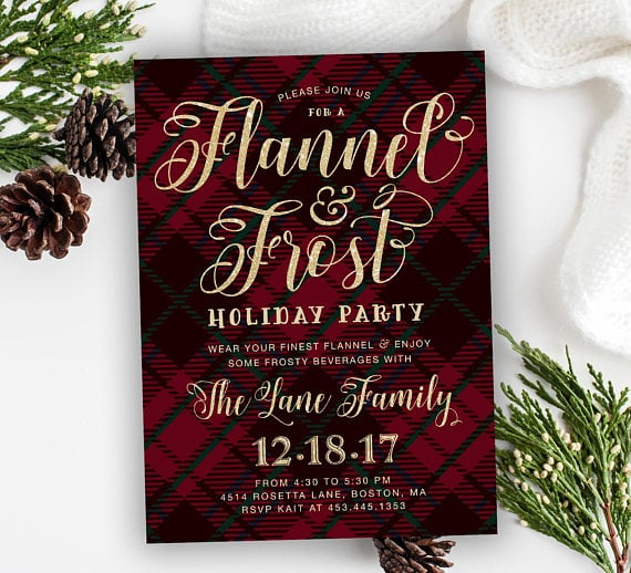picture relating to Printable Holiday Invitation identified as Flannel Frost Vacation Get together Invitation Printable Holiday vacation