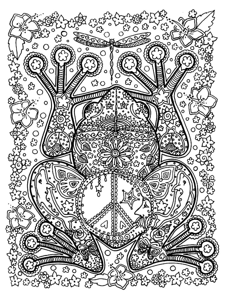 Get the coloring page: Frog | Free Coloring Pages For Adults ...