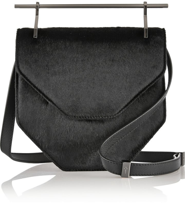 M2Malletier Amor Fati Calf Hair and Leather Shoulder Bag ($1,093)