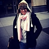 Katie Couric bundled up against the NYC chill. Source: Twitter user katiecouric