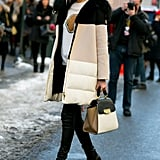 Jessica Hart showed off the perfect casual-cool approach to the Fashion Week dress code with a killer coat and bag.