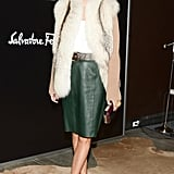 At Ferragamo's Walking Stories  premiere, Olivia Palermo bundled up in a plush fur vest.