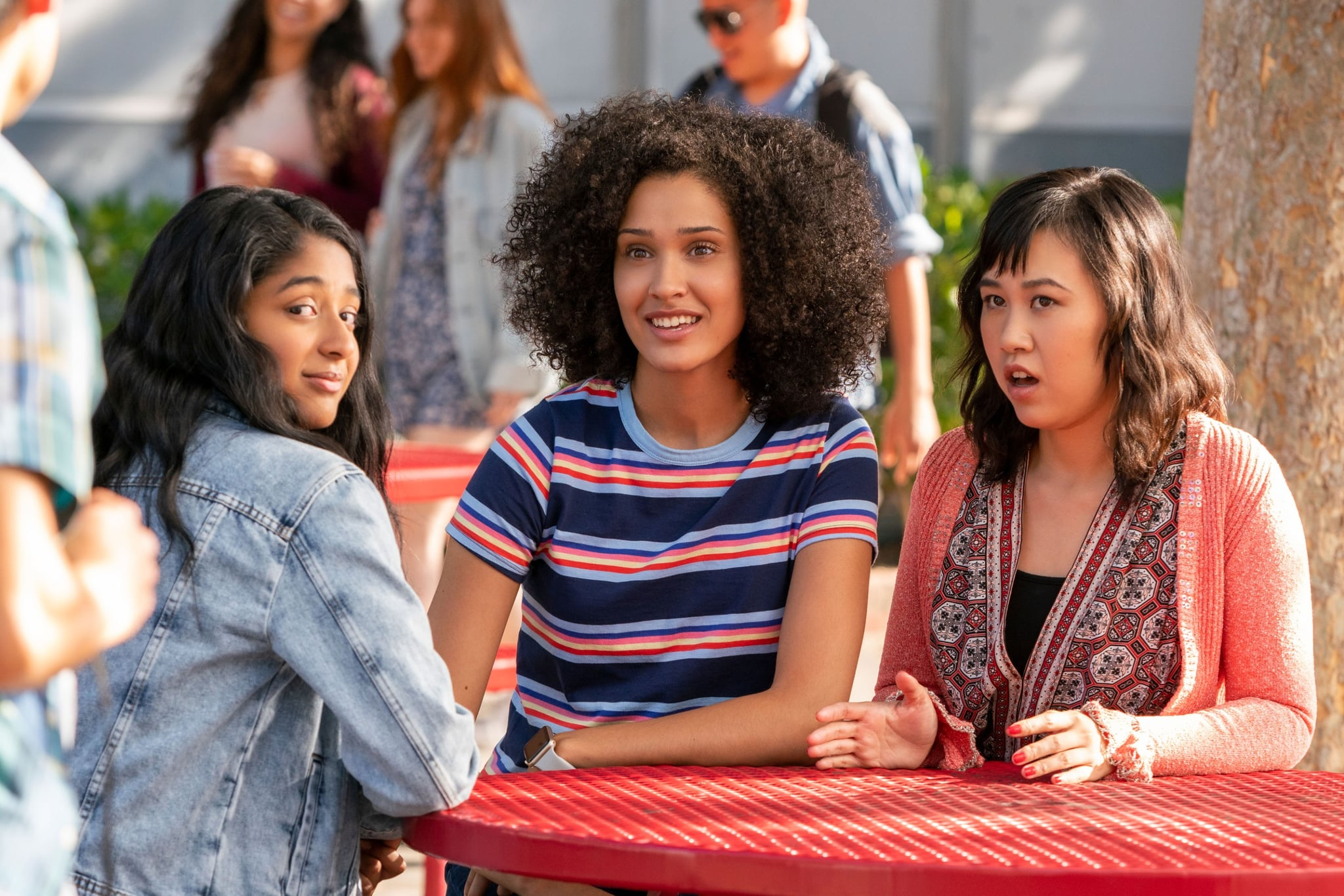 NEVER HAVE I EVER, from left: Maitreyi Ramakrishnan, Lee Rodriguez, Ramona Young, '...had sex with Paxton Hall-Yoshida', (Season 1, ep. 102, aired April 27, 2020). photo: Lara Solanki / Netflix / Courtesy Everett Collection