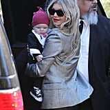 Fergie went to her parents' house in LA on Wednesday for Axl's first Christmas.