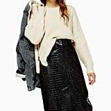 Topshop Vinyl Croc Midi Skirt