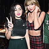 Prior to the bash, Taylor hung out with Charli XCX backstage at Z100's Jingle Ball concert.