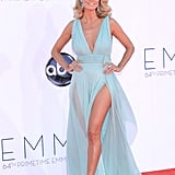 Heidi Klum worked both a daring neckline and and pair of thigh-high slits in this Alexandre Vauthier gown.