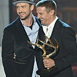 Justin Timberlake laughed with Jeremy Renner when they took the stage in 2012.