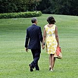 The Obamas departed the White House hand in hand.