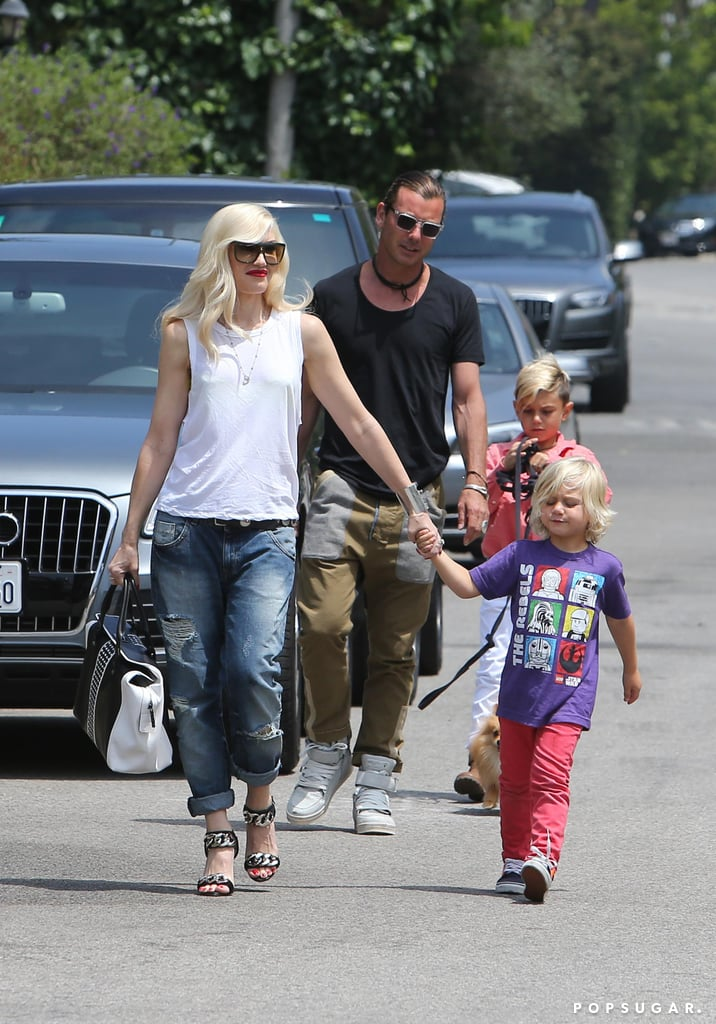 Gwen Stefani and husband Gavin Rossdale took their sons, Kingston and Zuma, to a birthday party for Jessica Alba's daughter Honor in Beverly Hills.