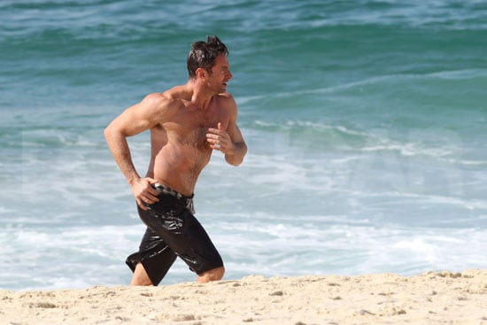 Hugh Jackman jogged on Bondi Beach.