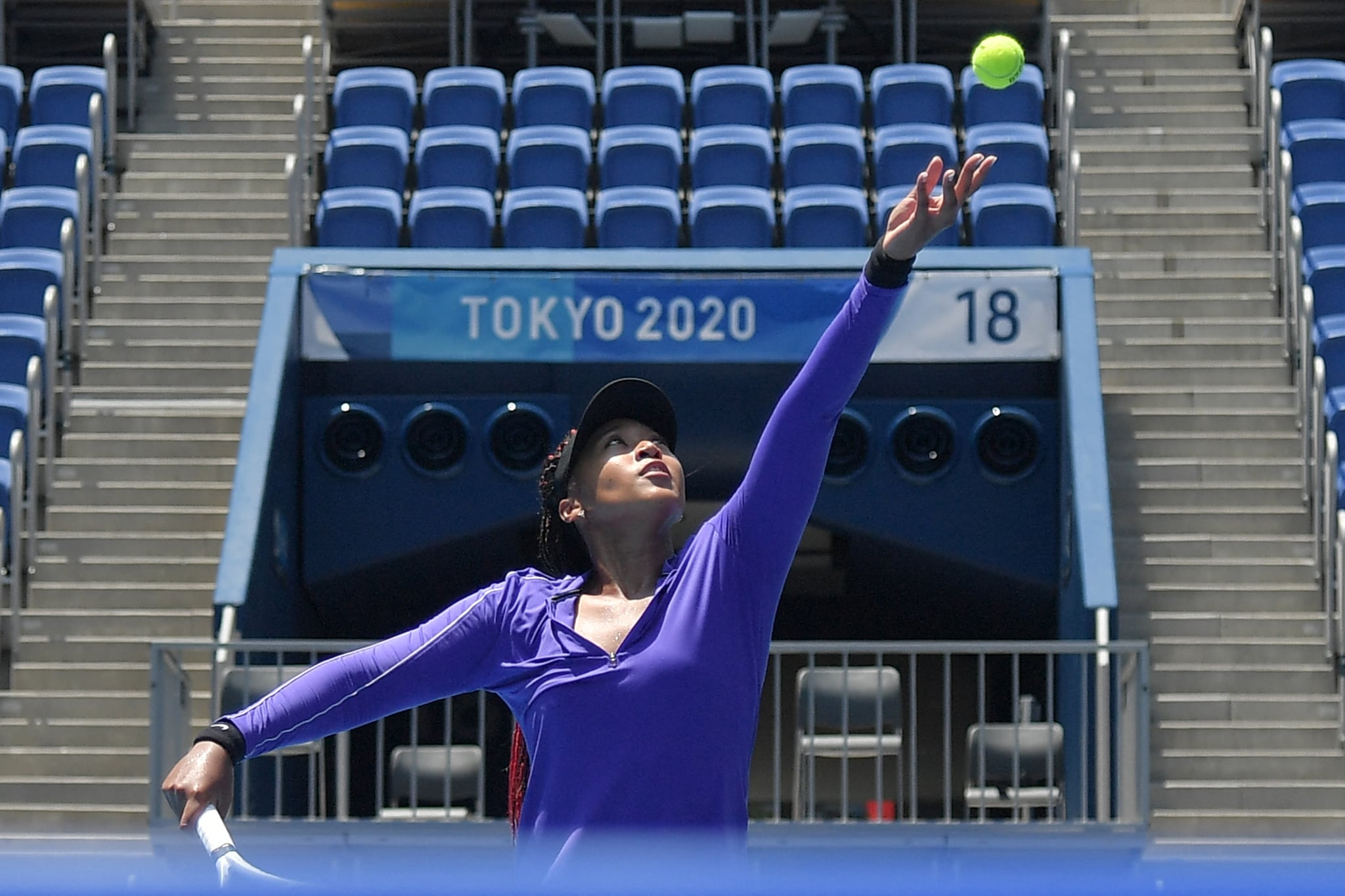 Japan's Naomi Osaka attends a training session at the Ariake Tennis Park ahead of the start of the Tokyo 2020 Olympic Games in Tokyo on July 20, 2021. (Photo by Tiziana FABI / AFP) (Photo by TIZIANA FABI/AFP via Getty Images)