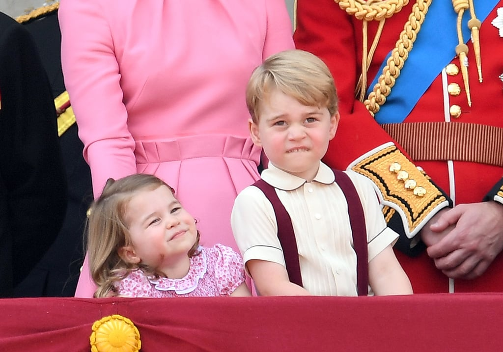 "Prince George and Princess Charlotte joined their family on the balcony of Buckingham Palace for the annual Trooping the Colour parade in London on Saturday — and true to form, the tiny royals totally stole the show. While checking out the ceremony with their parents, Prince William and Kate Middleton, 3-year-old George and 2-year old Charlotte were caught looking excited, quizzical, and a little unimpressed; George showed off his iconic ""over it"" face while Dad pointed out the air show, and Charlotte — who made her balcony debut just last year — looked adorable as she stayed close to Mom in their adorable matching pink outfits. The last time we saw George and Charlotte was just a few weeks ago, when they acted as page boy and flower girl in their aunt Pippa Middleton's wedding to James Matthews. We'll likely get to more of the little ones in July, when George celebrates his fourth birthday with official portraits. See more of George and Charlotte's most adorable moments."