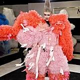 Model Ariel Nicholson in Tomo Koizumi at New York Fashion Week