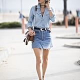 Alessandra Ambrosio sported two of our favorite trends — chokers and denim on denim — in one sleek street style look.