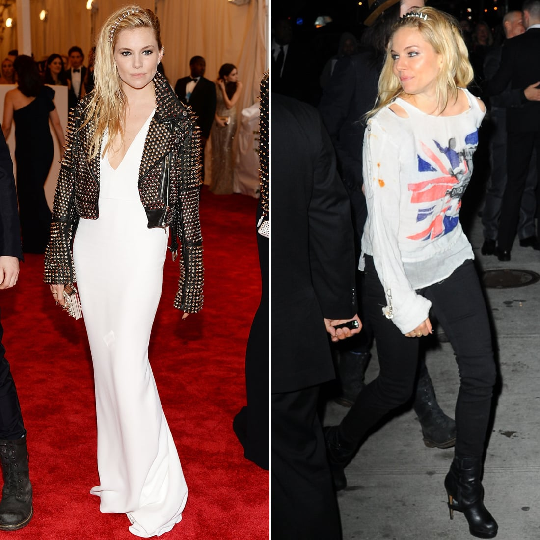 Sienna Miller topped her white gown with a studded biker jacket and a box clutch, all by Burberry (of course). Then, keeping within the Brit-punk spirit, she slipped into something more casual — Union Jack intact — for later.