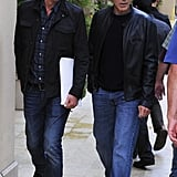 George Clooney wore a leather jacket to have lunch with pal Rande Gerber in LA.