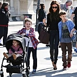 Victoria Beckham took her family to the Louvre Museum ahead of David Beckham's big game in Paris on Sunday.
